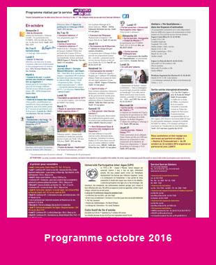 Le programme d'octobre en bref